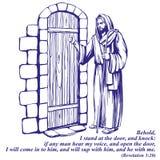Jesus Christ, figlio di Dio che batte alla porta, simbolo dello schizzo disegnato a mano dell'illustrazione di vettore di Cristia illustrazione vettoriale