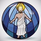 Jesus Christ Figure i målat glass, vektorillustration Royaltyfria Foton