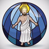Jesus Christ Figure in Stained Glass, Vector Illustration Royalty Free Stock Photos