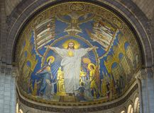 Jesus Christ figure on the wall of Basilica of Sacre Coeur Sacred Heart, Paris, France stock image