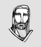 Jesus Christ friend d. Hand drawn vector illustration or drawing of Jesus Christ friendly face Stock Photo