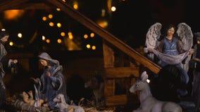Jesus Christ-geboorte in stabiele Kerstmisscène stock video