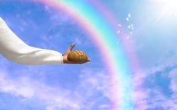 Jesus Christ Give Food To nosotros ejemplo Foto de archivo libre de regalías