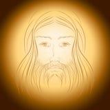 Jesus Christ gloria shine light illustration. Jesus Christ  portrait,  eps 8 included Stock Image