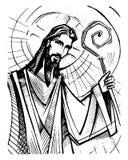Jesus Christ Good Shepherd färgpulverillustration Royaltyfri Bild