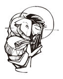 Jesus Christ Good Shepherd. Hand drawn vector illustration or drawing of Jesus Christ and a sheep Stock Photo