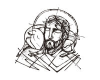 Jesus Christ Good Shepherd. Hand drawn vector illustration or drawing of Jesus Christ and a sheep Royalty Free Stock Photo