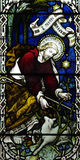 Jesus Christ the Good Shepherd in stained glass. A photo of Jesus Christ the Good Shepherd in stained glass Royalty Free Stock Image