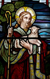 Jesus Christ: The Good Shepherd in stained glass. A photo of Jesus Christ: The Good Shepherd in stained glass Royalty Free Stock Image