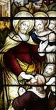 Jesus Christ guérissant un homme aveugle (verre souillé) Image stock