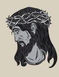 Jesus Christ hace frente stock de ilustración