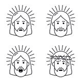 Jesus Christ hace frente al icono plano ilustración del vector