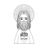 Jesus christ with halo character religious icon. Vector illustration design Royalty Free Stock Photography