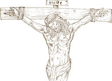 Jesus Christ hanging on the cross. Hand drawn  illustration of Jesus Christ hanging on the cross isolated on white Royalty Free Stock Photography