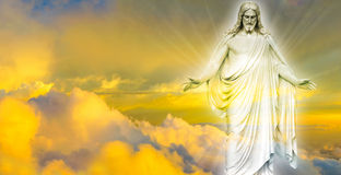 Jesus Christ in Heaven panoramic image. Jesus Christ in Heaven religion concept Stock Photo