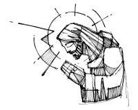 Jesus Christ-het bidden inktillustratie Stock Afbeeldingen