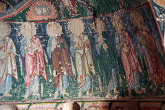 Jesus Christ and his apostles, Damaged Christian frescoes Royalty Free Stock Photo