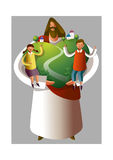 Jesus Christ holding boy and girl. And heart shape environment Royalty Free Stock Photo