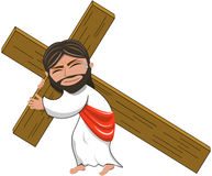 Jesus Christ Holding Heavy Cross a isolé Image stock