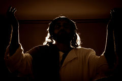 Jesus Christ holding the prayer. Jesus christ holding prayer to god father at his last supper stock photo