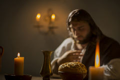 Jesus Christ holding the prayer. Jesus christ holding prayer to god father at his last supper stock image