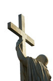 Jesus Christ holds passion cross. Marble statue isolated on white, Gaeta, southern Italy Stock Image
