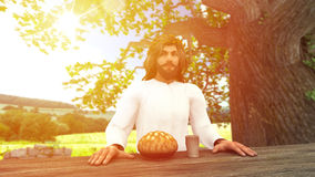 Jesus Christ and Holy Communion Illustration. Seated Jesus Christ with a bread and a cup of wine stock illustration