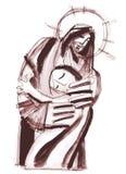 Jesus Christ hugging a woman Royalty Free Stock Photos