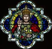 Jesus Christ i målat glass Arkivbild