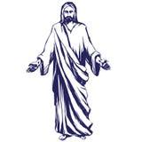 Jesus Christ, il figlio di Dio, simbolo dell'illustrazione disegnata a mano di vettore di Cristianità royalty illustrazione gratis