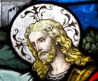 Jesus Christ im Buntglas stockfoto