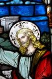 Jesus Christ im Buntglas lizenzfreies stockfoto