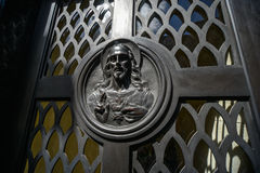 Jesus Christ image on a tomb. Buenos Aires, Argentina - Sept 23, 2016: Jesus Christ image on a tomb at the La Recoleta Cemetery in Capital Federal Royalty Free Stock Photography