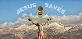 Jesus Christ INRI son of God. Jesus on the cross with sign INRI above his head royalty free stock photography