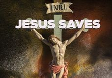 Jesus Christ INRI son of God. Jesus on the cross with sign INRI above his head Stock Image