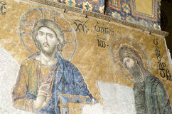 Jesus Christ and John Baptist old Mosaic from the 12th century, Stock Photo