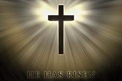 Jesus Christ korsar högstämt, lyftt upp, dolt av ljus, och glöd och han har uppstigen text som är skriftlig på en stenbakgrund vektor illustrationer