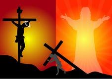Jesus Christ korsfästelse och uppståndelse Arkivbild