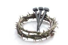 Jesus Christ-kroon van doornen en spijkers stock foto's