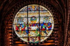 Jesus Christ Last Supper Rose-de Kathedraalkerk Siena Italy van het Venstergebrandschilderde glas stock afbeelding