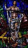Jesus Christ levé en verre souillé Images stock