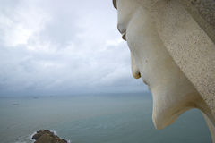 Jesus Christ looks at the South China sea. The view from the shoulder of the giant statue of Christ in Vung Tau. Vietnam Stock Images