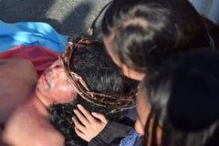 Jesus Christ lying on crying women`s lap street drama, community celebrates Good Friday representing the events that led to the hi. San Pablo City, Laguna royalty free stock image