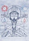 Jesus Christ mão transversal na ilustração tirada imagens de stock royalty free