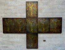 Jesus Christ målning på domkyrkan av St Michael och St Gudula Bryssel Arkivfoto
