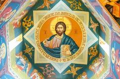 Jesus Christ målning på en vägg i en kristen kyrka fotografering för bildbyråer