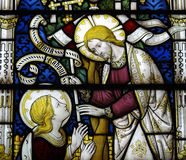 Jesus Christ and Mary Magdalene in stained glass Stock Photos