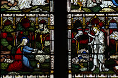 Jesus Christ and Mary Magdalene in stained glass Royalty Free Stock Images
