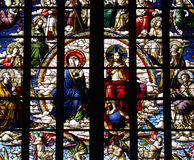 Jesus Christ and Mary. Stained glass window Jesus Christ and Mary royalty free stock image