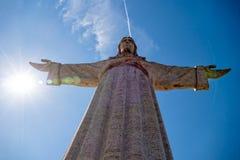 Jesus Christ Monument Cristo-Rei Lisboa i Lissabon Arkivbild